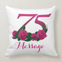 "Customized 75th birthday Throw Pillow 20"" x 20"""