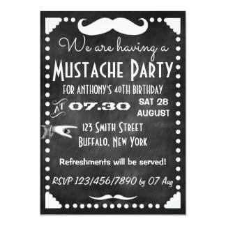 customized adults chalkboard mustache party card - Mustache Party Invitations