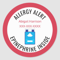 Customized Allergy Alert Epinephrine Inside Kids Classic Round Sticker
