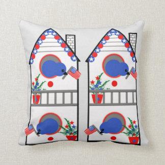 "Customized ""American Birdhouse"" Throw Pillow"