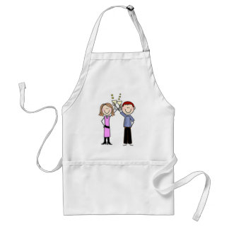 Customized Anniversary Stick Figures Adult Apron