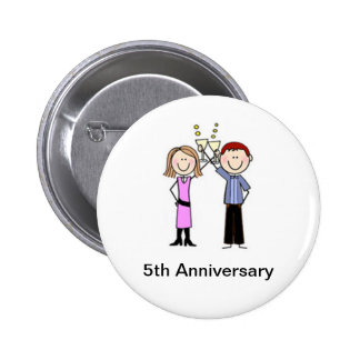 Customized Anniversary Stick Figures Pinback Buttons