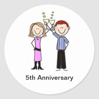 Customized Anniversary Stick Figures Classic Round Sticker