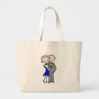 Customized Anniversary Stick Figures Large Tote Bag