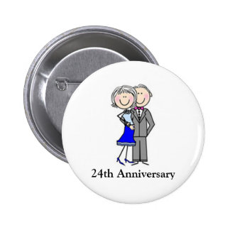 Customized Anniversary Stick Figures Pinback Button