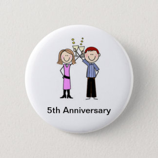 Customized Anniversary Stick Figures Pinback Button
