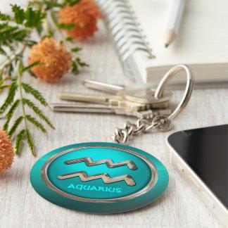 Customized Aquarius Astrological Symbol Keychain