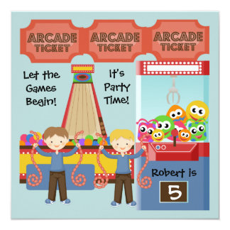 Customized Arcade Birthday Party Invitation