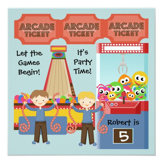 Customized Arcade Birthday Party Invitation Zazzle Com