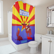 Customized Arizona State Flag Vintage Drawing Shower Curtain