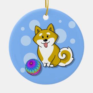 Customized Baby's First Christmas Shiba Inu Dog Ceramic Ornament