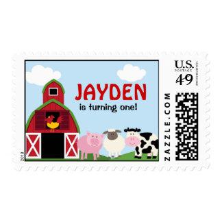 Customized Barnyard Birthday Stamp