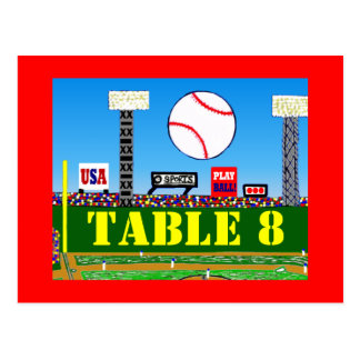 Customized Baseball Bar Mitzvah Table Number Cards Post Card