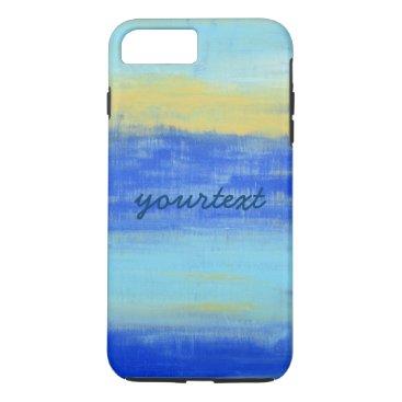 Beach Themed Customized Beach Blue Yellow Abstract Art iPhone 7 Plus Case