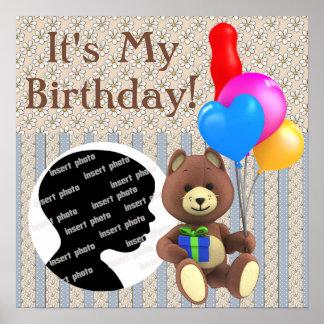 Customized Bear Birthday Poster