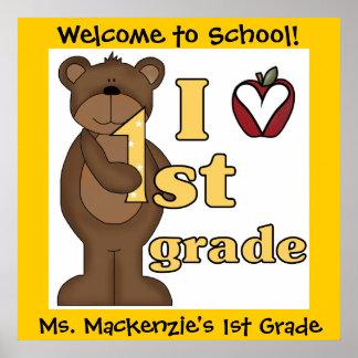 Customized Bear I Love 1st Grade Classroom Poster