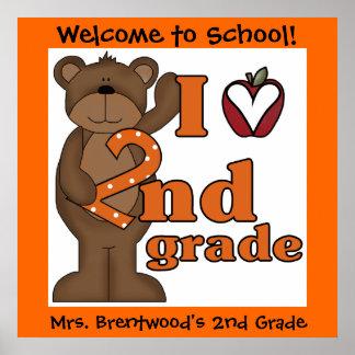 Customized Bear I Love 2nd Grade Classroom Poster