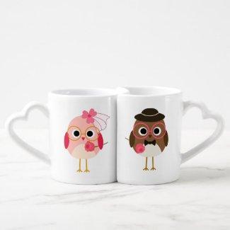 Customized Birds Bride and Groom Lovers Mugs