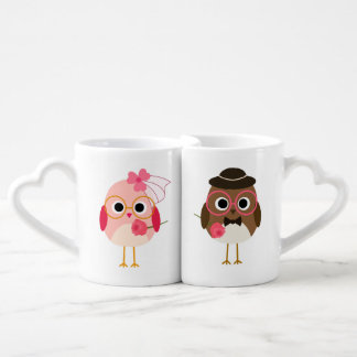 Customized Birds Bride and Groom Lovers Mugs Couples' Coffee Mug Set