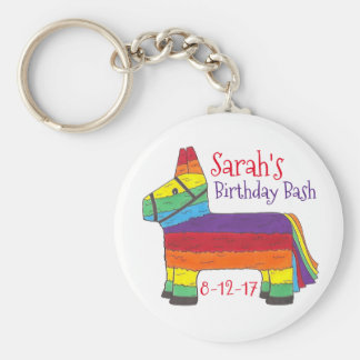 Customized Birthday Party Favor Rainbow Piñata Keychain