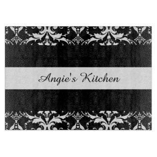 Customized Black and White Damask Kitchen Gadget Cutting Board
