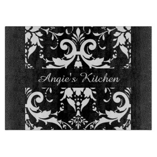 Customized Black and White Damask Kitchen Gadget Cutting Boards
