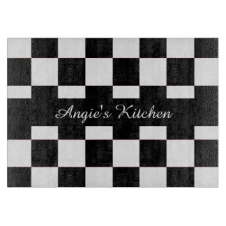 Customized Black White Checkerboard Kitchen Gadget Cutting Board