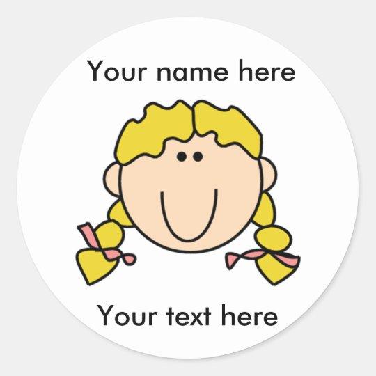 Customized Blond Girl With Braids Classic Round Sticker