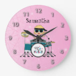 Customized Blonde Drummer Girl with Stars on Pink Wallclocks