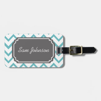 Customized Blue Chevron Stripe Luggage Tag