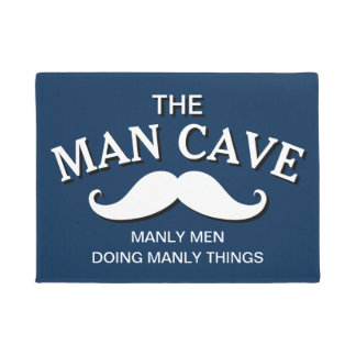 Customized Blue Funny Man Cave Sign Doormat