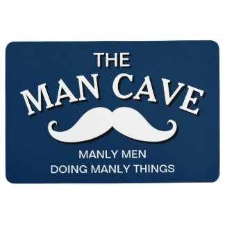 Customized Blue Funny Man Cave Sign Floor Mat
