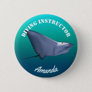 Customized Blue Manta Ray Cartoon Button