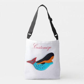 customized blue-tail mermaid crossbody bag