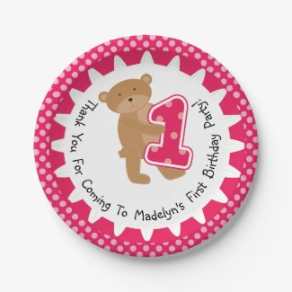 Customized Brown Bear 1st Birthday Paper Plates 7 Inch Paper Plate