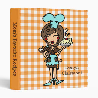 Customized Brown Hair Female Chef Binder