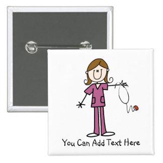 Customized Brown Hair Stick Figure Nurse  Button