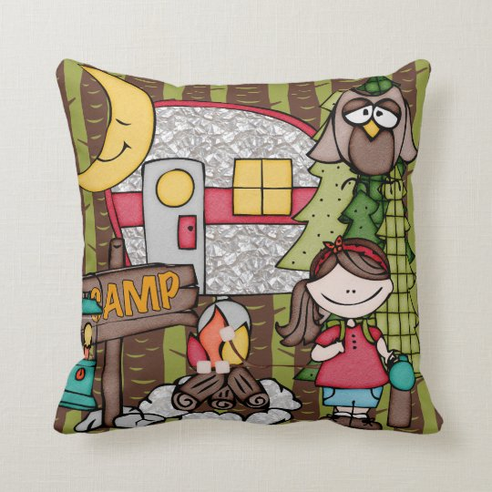 Customized Brown Haired Girl Camping Pillow