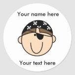 Customized Brown Haired Pirate Round Sticker