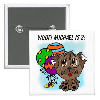 Customized Brown Puppy Dog Birthday Button