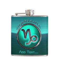 Customized Capricorn Astrological Symbol Flask
