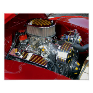 Customized Car Engine Poster