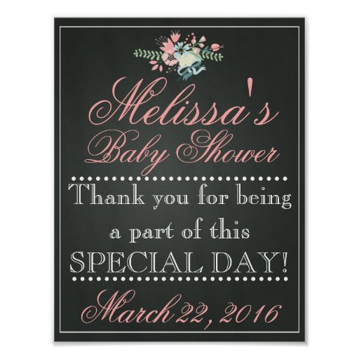 Thank You Quotes For Baby Gift: Customized Chalk Baby Shower Sign, Welcome Poster
