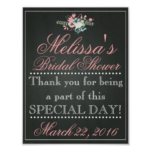 Customized chalk bridal shower sign bridal poster zazzle for Bridal shower t shirt sayings