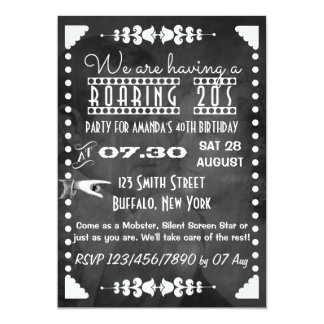 Customized Chalkboard Roaring 20s Party 5x7 Paper Invitation Card