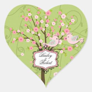 Customized Cherry Blossom Birds Heart Stickers
