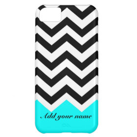 Customized Chevron Black turquoise with name Case For iPhone 5C