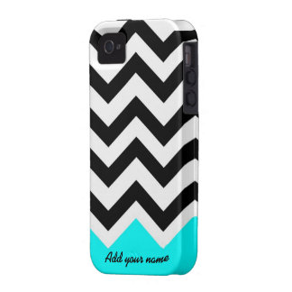 Customized Chevron Black turquoise with name Vibe iPhone 4 Covers