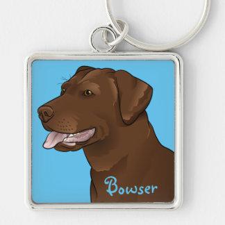 Customized Chocolate Lab Pretty Labrador Dog Silver-Colored Square Keychain