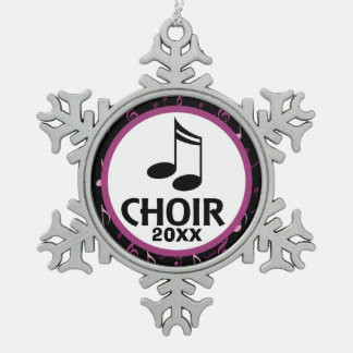 Customized Choir Music Gift Snowflake Pewter Christmas Ornament